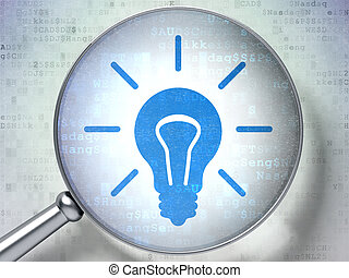 Finance concept: Light Bulb with optical glass on digital background