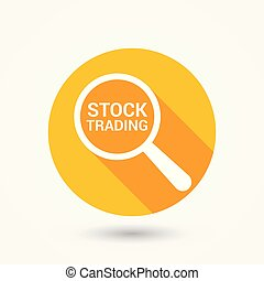 Finance Concept: Magnifying Optical Glass With Words Stock Trading