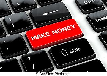 Finance concept: Make money on computer keyboard background