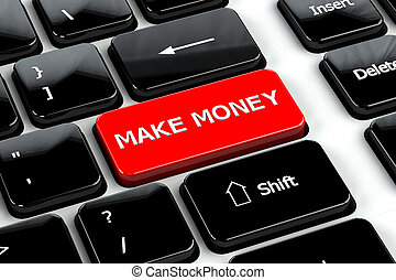 Finance concept: Make money on computer keyboard background