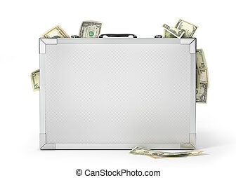 Finance concept. Metal case with money isolated on a white. 3d illustration