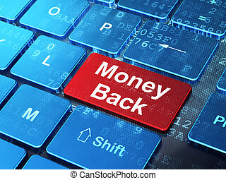 Finance concept: Money Back on computer keyboard background