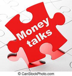 Finance concept: Money Talks on puzzle background - Finance...