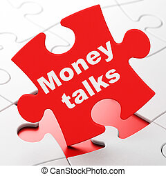Finance concept: Money Talks on puzzle background - Finance...