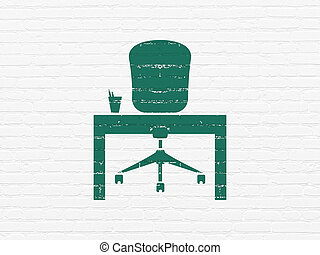 Finance concept: Office on wall background