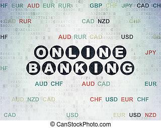 Finance concept: Online Banking on Digital Data Paper background
