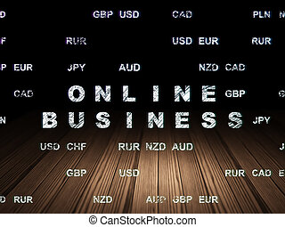 Finance concept: Online Business in grunge dark room