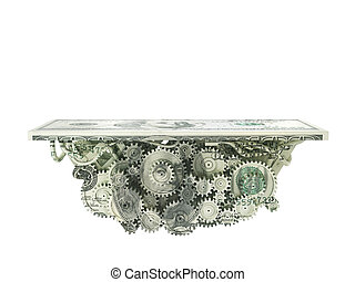 Finance concept. Platform with gears covered dollar texture isolated on a white. 3d illustration