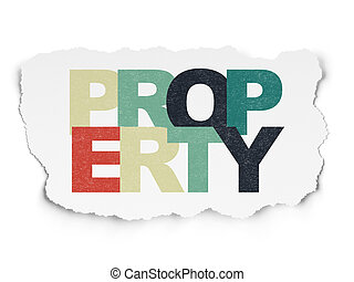 Finance concept: Property on Torn Paper background