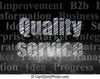 Finance concept: Quality Service in grunge dark room