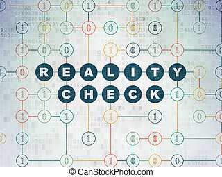 Finance concept: Reality Check on Digital Paper background