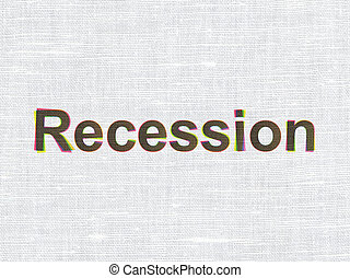 Finance concept: Recession on fabric texture background