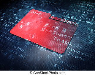 Finance concept: Red Folder on digital background
