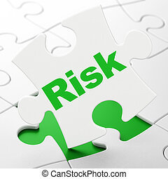 Finance concept: Risk on puzzle background