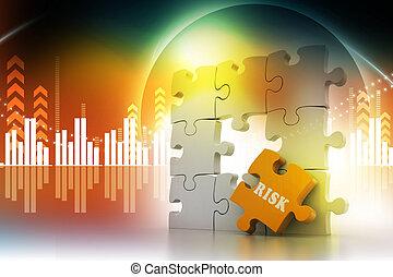 Finance concept: Risk on puzzle piece