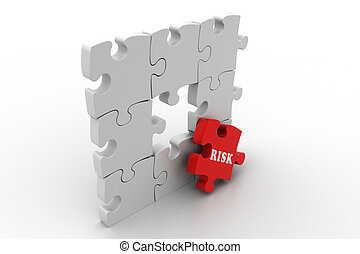 Finance concept, Risk on red puzzle