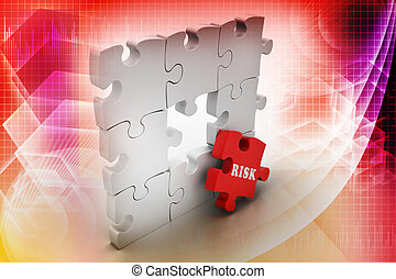 Finance concept: Risk on red puzzle