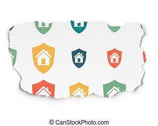 Finance concept: Shield icons on Torn Paper background