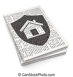 Finance concept: Shield on Newspaper background
