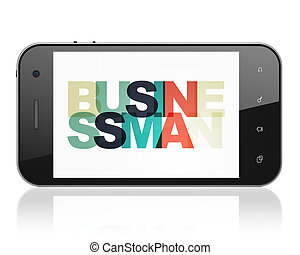 Finance concept: Smartphone with Businessman on  display