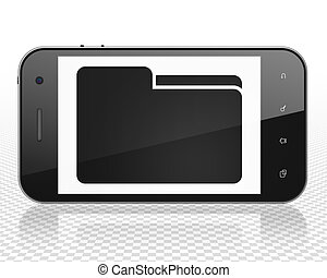 Finance concept: Smartphone with Folder on display