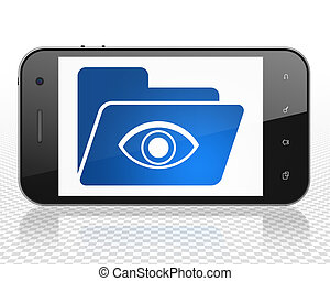 Finance concept: Smartphone with Folder With Eye on display