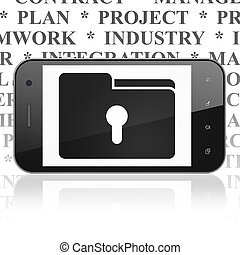 Finance concept: Smartphone with Folder With Keyhole on display