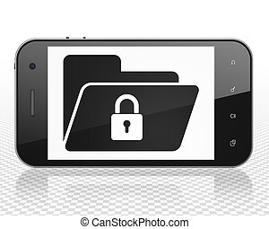 Finance concept: Smartphone with Folder With Lock on display