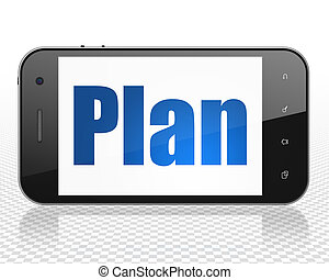 Finance concept: Smartphone with Plan on display