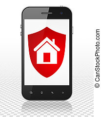 Finance concept: Smartphone with Shield on display