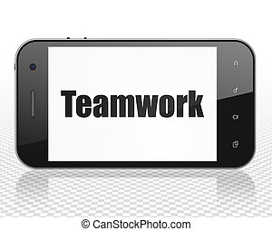 Finance concept: Smartphone with Teamwork on display
