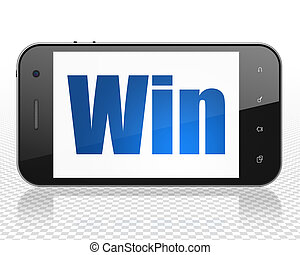 Finance concept: Smartphone with Win on display
