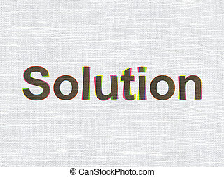 Finance concept: Solution on fabric texture background
