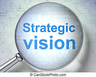 Finance concept: Strategic Vision with optical glass