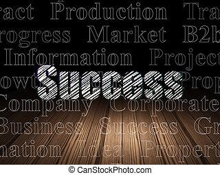 Finance concept: Success in grunge dark room