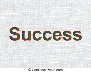 Finance concept: Success on fabric texture background