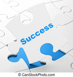 Finance concept: Success on puzzle background