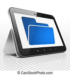 Finance concept: Tablet Computer with Folder on display