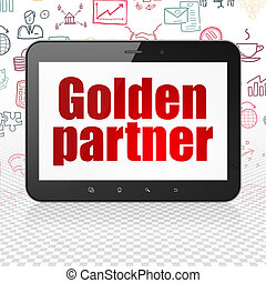 Finance concept: Tablet Computer with Golden Partner on display