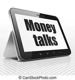 Finance concept: Tablet Computer with Money Talks on display...