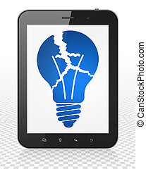 Finance concept: Tablet Pc Computer with Light Bulb on display