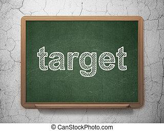 Finance concept: Target on chalkboard background