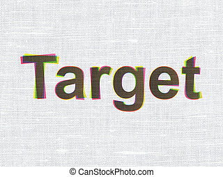 Finance concept: Target on fabric texture background