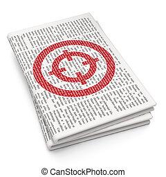 Finance concept: Target on Newspaper background