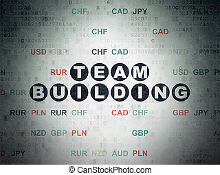 Finance concept: Team Building on Digital Data Paper background