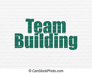 Finance concept: Team Building on wall background