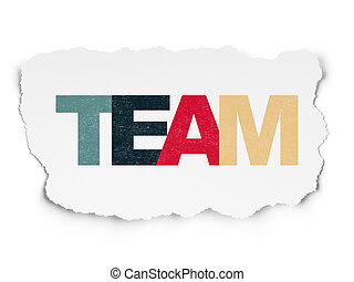Finance concept: Team on Torn Paper background