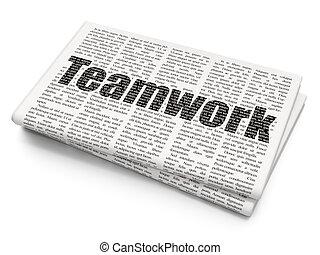 Finance concept: Teamwork on Newspaper background