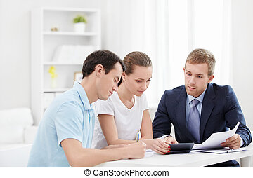 Finance - Consultant with a couple at home