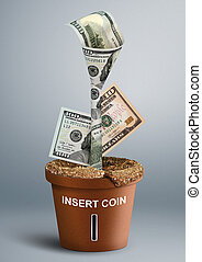 finance creative concept, money growth as flower in pot